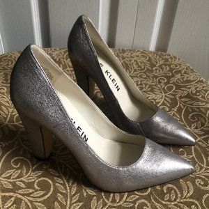 ANNE KLEIN Leather Pumps HOLLYN Pewter NWOB